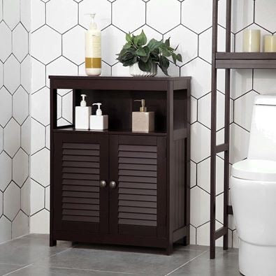 Brown Storage Floor Cabinet Free Standing with Double Shutter Door and Adjustable Shelf - Hawkins Woodshop