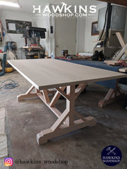 Shop hawkinswoodshop.com for solid wood & metal modern, traditional, contemporary, industrial, custom & farmhouse furniture including our Custom Fancy X Rustic Farmhouse Dining Table.  Ask about our free nationwide freight delivery and low cost white glove assembly services.