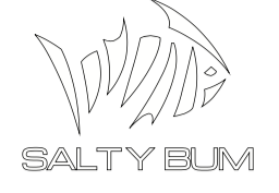 Salty Bum Fishin Decal White
