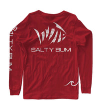Load image into Gallery viewer, Salty Bum Fishin' Long Sleeve Tee Red