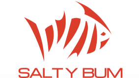 Salty Bum Fishin' Decal Orange-Red