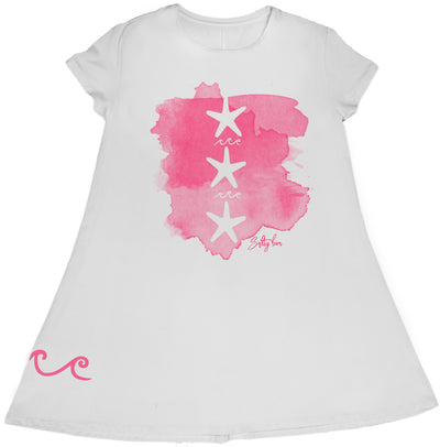 Starfish Short Sleeve White Performance Dress