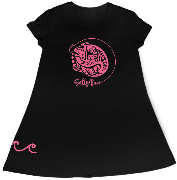 Short Sleeve Fish Art Black Performance Dress
