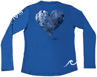 Heart Mosaic Ladies Performance Tee Blue