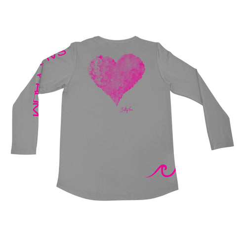 Heart Mosaic Ladies Performance Tee Gray