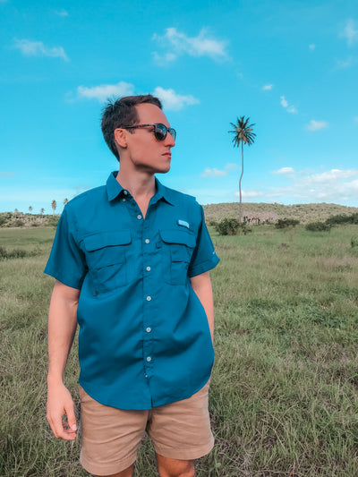 Traveler Performance Botton Down Shirt Navy