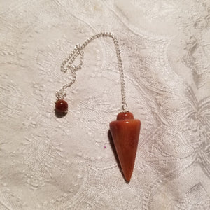 Orange Jasper Pendulum with Pentacle