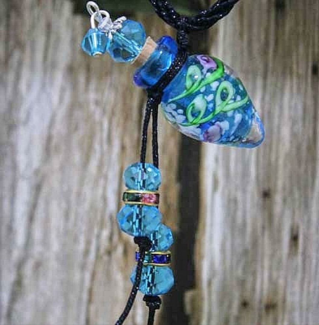 Murano Glass Essential Oil Bottles Necklace Blue