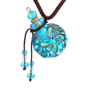 Blue Round Oil Necklace