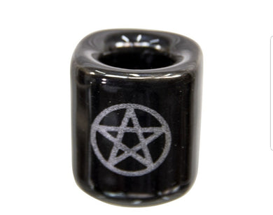 Black with Silver Pentagram Chime Candle Holder