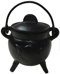 Cast Iron Cauldron w/ Lid Triple Moon 3""