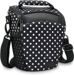 DSLR Digital Compact Camera Case Bag with Top Loading Accesibility, Shoulder Sling and Weather Resistant Bottom by USA Gear - Works with Canon, Nikon, Sony, Pentax and More - Polka Dot