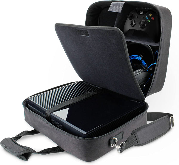 USA GEAR Console Carrying Case Compatible with Xbox One and Xbox 360 with Accessory Storage for Controllers, Cables, Headsets and Padded Shoulder Strap - Fits All Xbox Models - Black