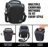 USA Gear Black Water-Resistant Camera Holster Bag & Travel Carrying Case with Protective Rain Cover for DSLR Zoom Cameras- Will fit Canon EOS Rebel M , 1200D , 1100D , 700D , 650D , 600D , 100D , 70D , SX Series with 18-135mm Lens , 18-55mm Lens & More