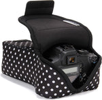 USA GEAR DSLR Camera Case SLR Zoom Camera Sleeve (Polka Dot) with Neoprene Protection, Holster Belt Loop and Accessory Storage - Compatible with Canon, Nikon, Sony, Olympus, Pentax and More