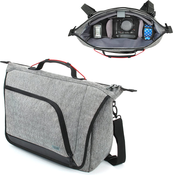USA GEAR Camera Messenger Bag for DSLR SLR with Customizable Dividers, Weather Resistant Bottom, Comfortable Back Support and Adjustable Strap - Compatible with Nikon, Canon, Sony, Pentax and More