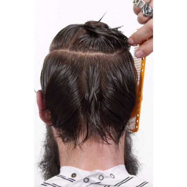 sectioning hair for a razor haircut