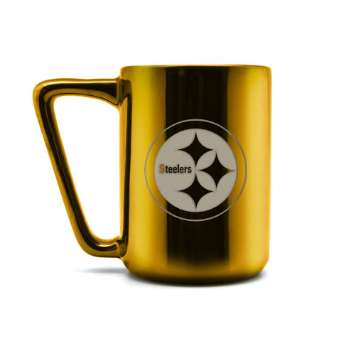 PITTSBURGH STEELERS CERAMIC MUG W LASER ENGRAVED LOGO 16 OZ.