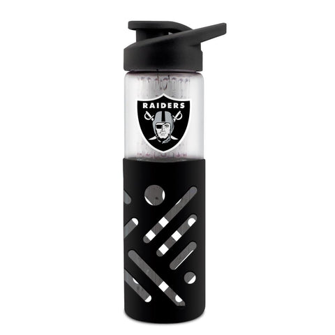 OAKLAND RAIDERS GLASS WATER BOTTLE W SILICON PROTECTOR SLEEVE 23 OZ