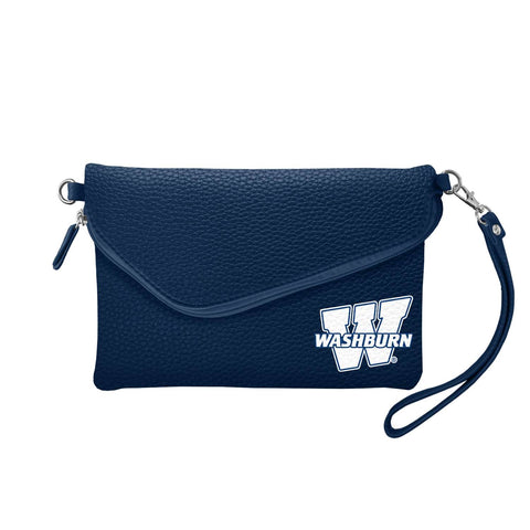 Washburn University Fold Over Crossbody Pebble (Navy)