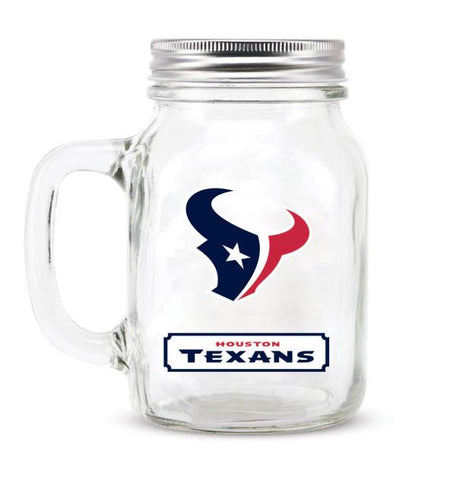 HOUSTON TEXANS GLASS MASON JAR W/LID - 20 oz