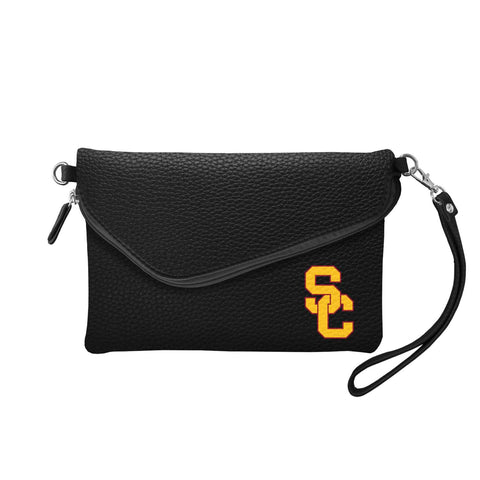 USC Trojans Fold Over Crossbody Pebble (Black)