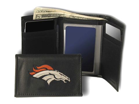Denver Broncos Wallet Trifold Leather Embroidered