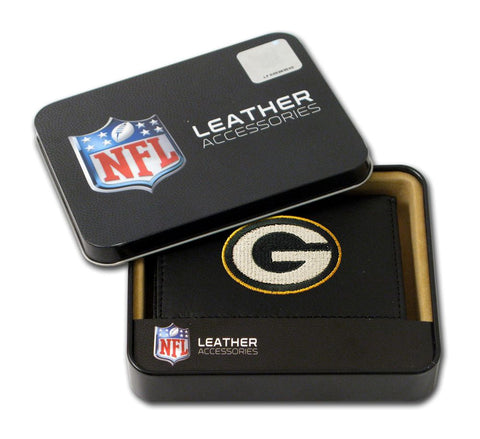 Green Bay Packers Wallet Trifold Leather Embroidered