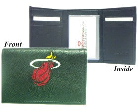 Miami Heat Wallet Trifold Leather Embroidered