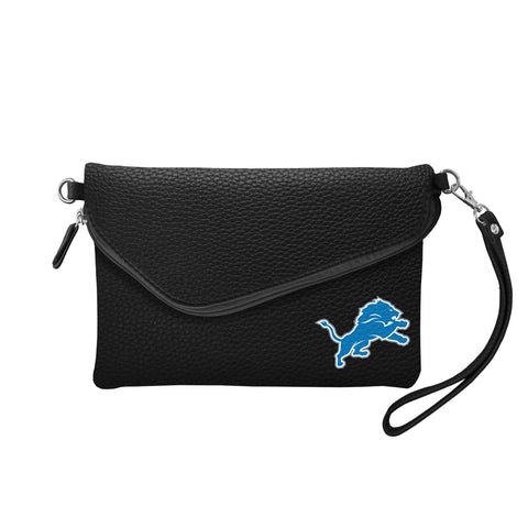 Detroit Lions Fold Over Crossbody Pebble (Black)