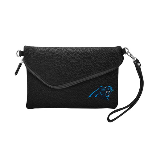 Carolina Panthers Fold Over Crossbody Pebble (Black)