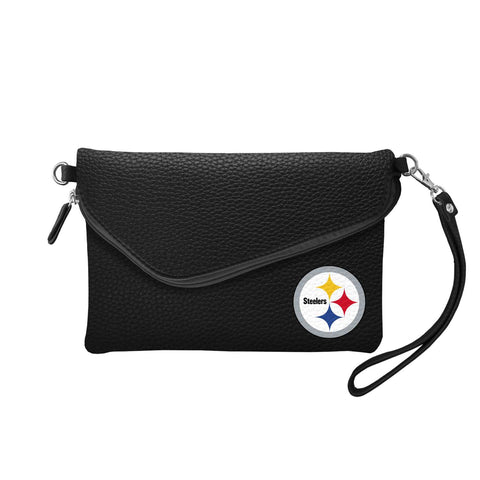 Pittsburgh Steelers Fold Over Crossbody Pebble (Black)