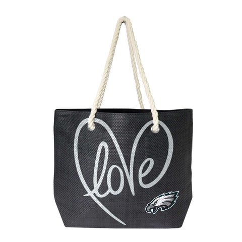 Philadelphia Eagles Rope Tote (Black Slvr)