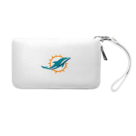 Miami Dolphins Zip Organizer Wallet Pebble (White)