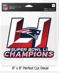 New England Patriots Decal 8x8 Perfect Cut Color Super Bowl 51 Champions Design
