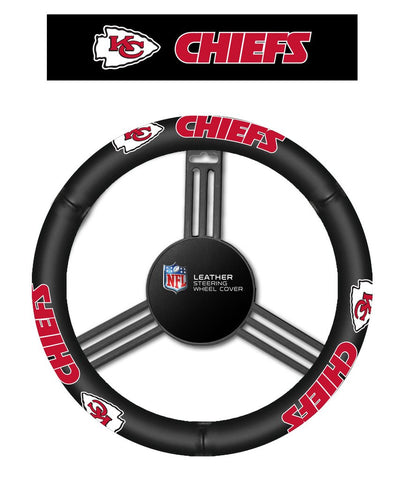 NFL Kansas City Chiefs Leather Steering Wheel Cover