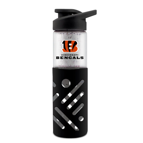 CINCINNATI BENGALS GLASS WATER BOTTLE W SILICON PROTECTOR SLEEVE 23 OZ