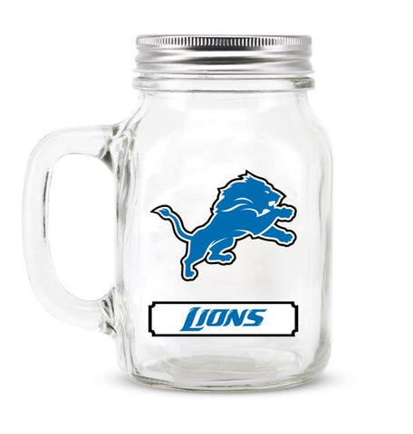 DETROIT LIONS GLASS MASON JAR W/LID - 20 oz