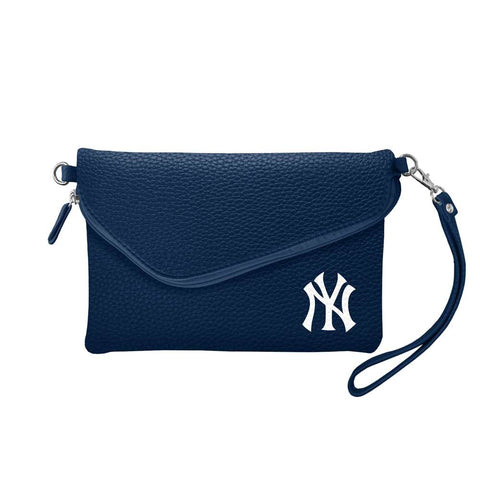New York Yankees Fold Over Crossbody Pebble (Navy)