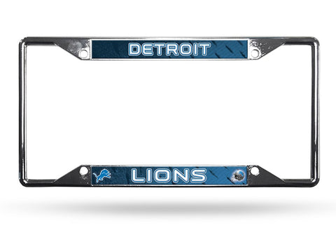 Detroit Lions License Plate Frame Chrome EZ View New