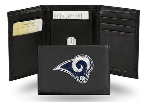 Los Angeles Rams Wallet Trifold Leather Embroidered