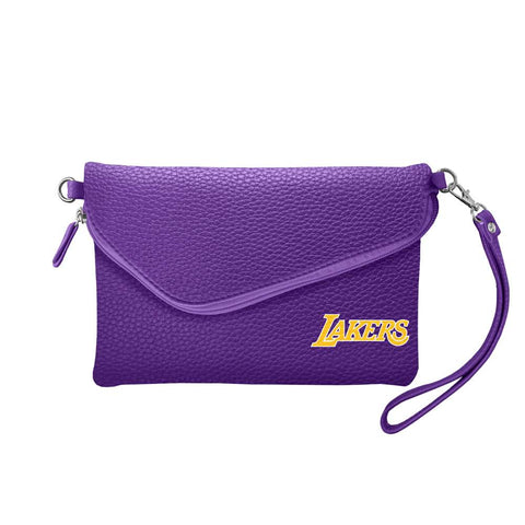Los Angeles Lakers Fold Over Crossbody Pebble (Purple)