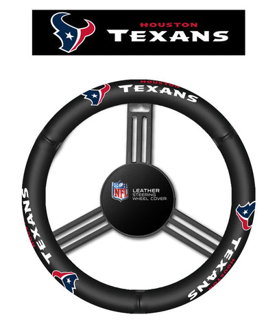 NFL Houston Texans Leather Steering Wheel Cover