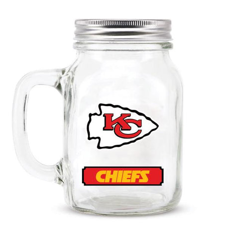 KANSAS CITY CHIEFS GLASS MASON JAR W/LID - 20 oz