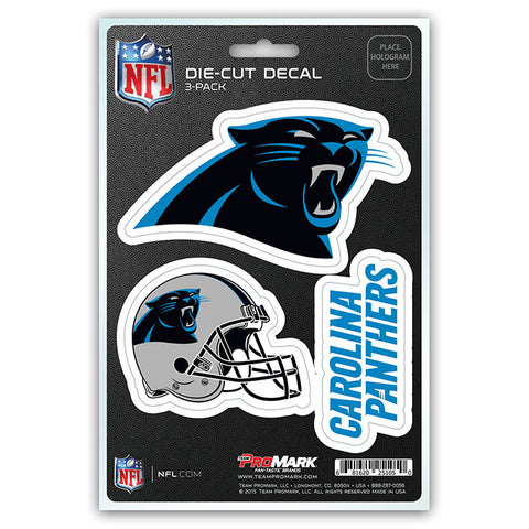 Carolina Panthers Decal Die Cut Team 3 Pack