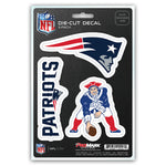 New England Patriots Decal Die Cut Team 3 Pack