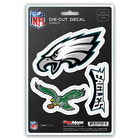 Philadelphia Eagles Decal Die Cut Team 3 Pack