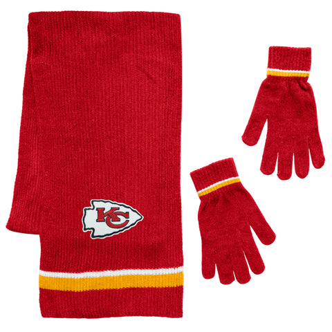 Kansas City Chiefs Scarf and Glove Gift Set Chenille