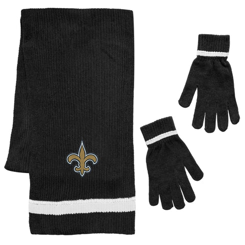 New Orleans Saints Scarf and Glove Gift Set Chenille