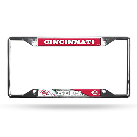 Cincinnati Reds License Plate Frame Chrome EZ View